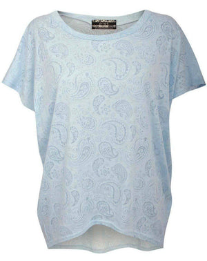 Burnout Paisley Print Oversized Top in Blue 2