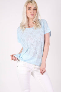 Burnout Paisley Print Oversized Top in Blue 0