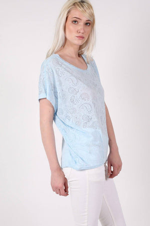 Burnout Paisley Print Oversized Top in Blue 1