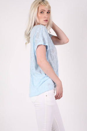 Burnout Paisley Print Oversized Top in Blue 3