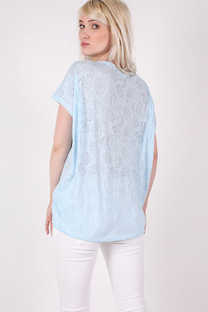 Burnout Paisley Print Oversized Top in Blue 4