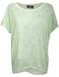 Burnout Paisley Print Oversized Top in Mint Green 2