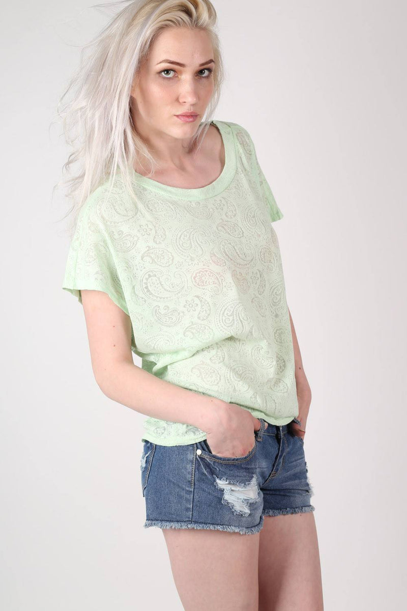 Burnout Paisley Print Oversized Top in Mint Green 0