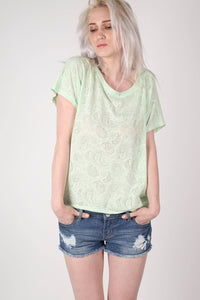 Burnout Paisley Print Oversized Top in Mint Green 1