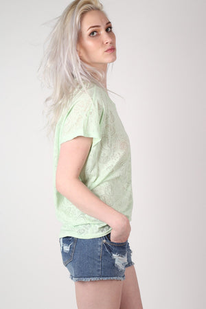 Burnout Paisley Print Oversized Top in Mint Green 3
