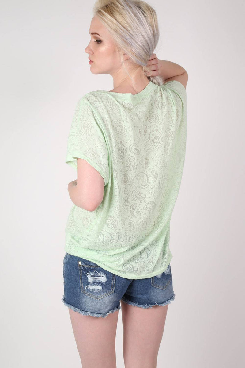 Burnout Paisley Print Oversized Top in Mint Green 4