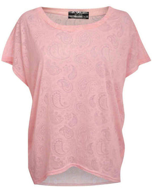 Burnout Paisley Print Oversized Top in Pink 2