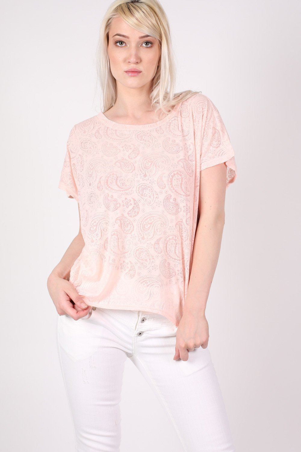 Burnout Paisley Print Oversized Top in Pink 0