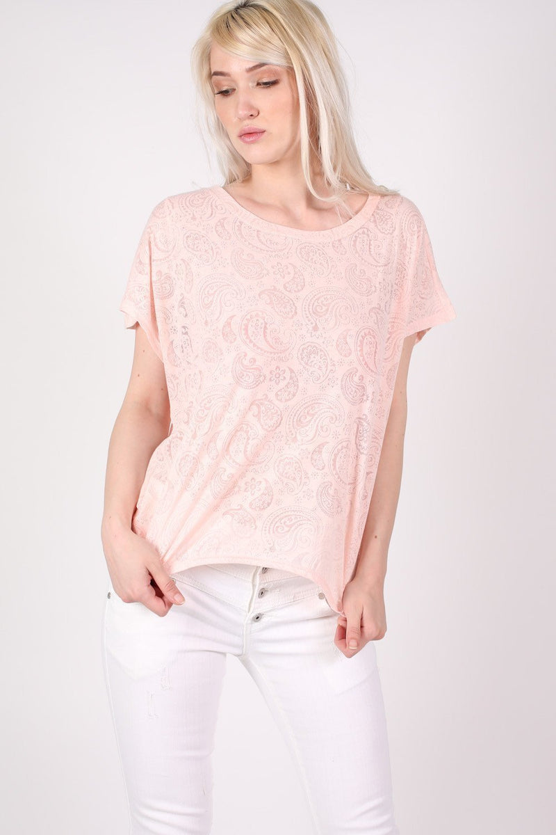 Burnout Paisley Print Oversized Top in Pink 1