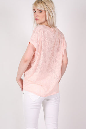 Burnout Paisley Print Oversized Top in Pink 3