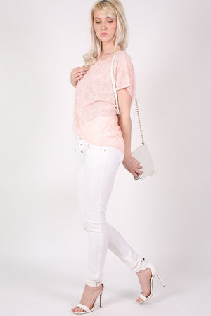 Burnout Paisley Print Oversized Top in Pink 4
