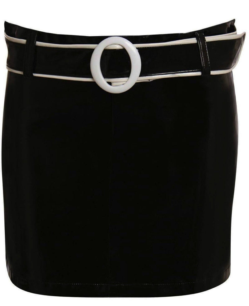 Vinyl Belted Mini Skirt in Black 3
