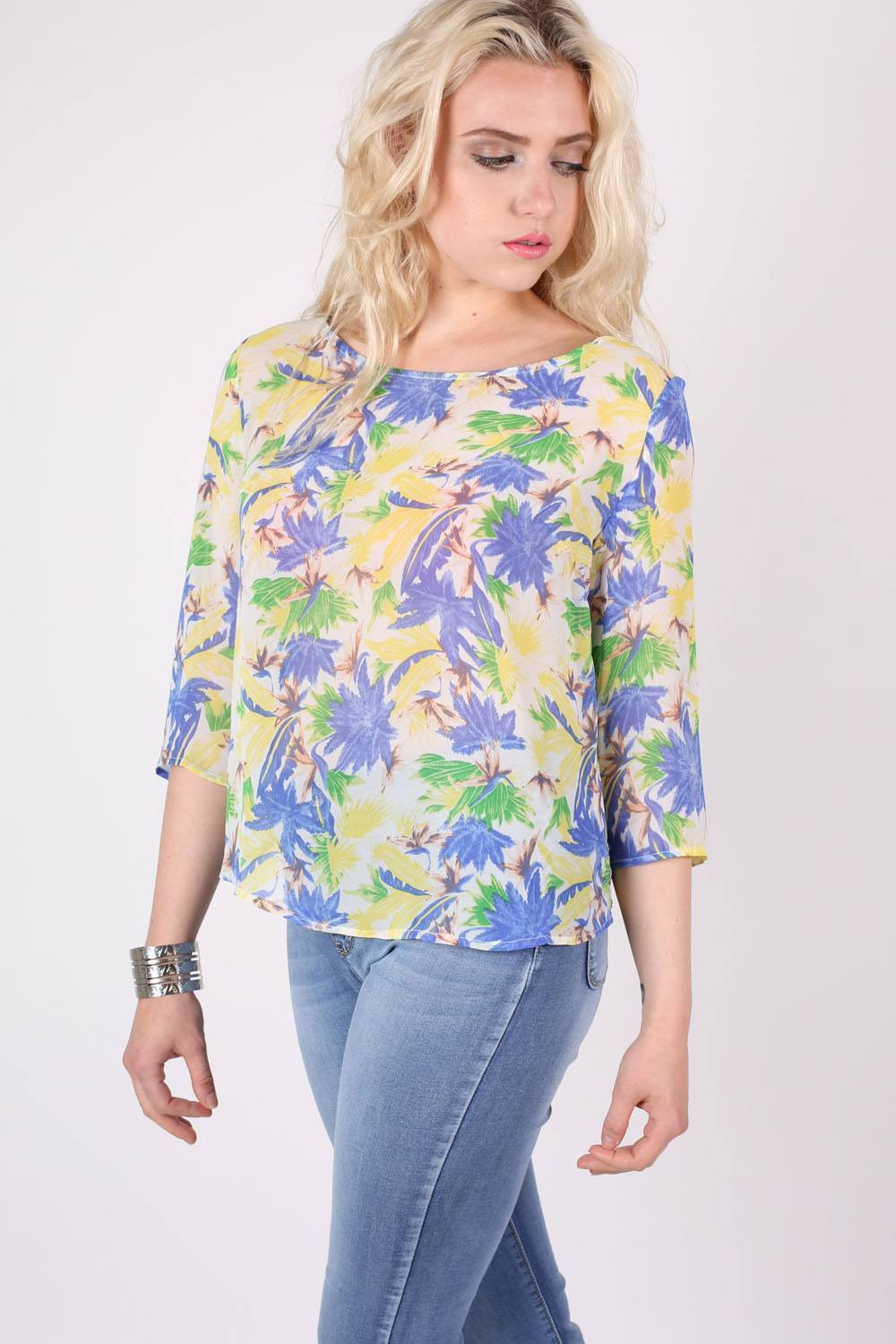Tropical Print Split Back Chiffon Top in Blue 0
