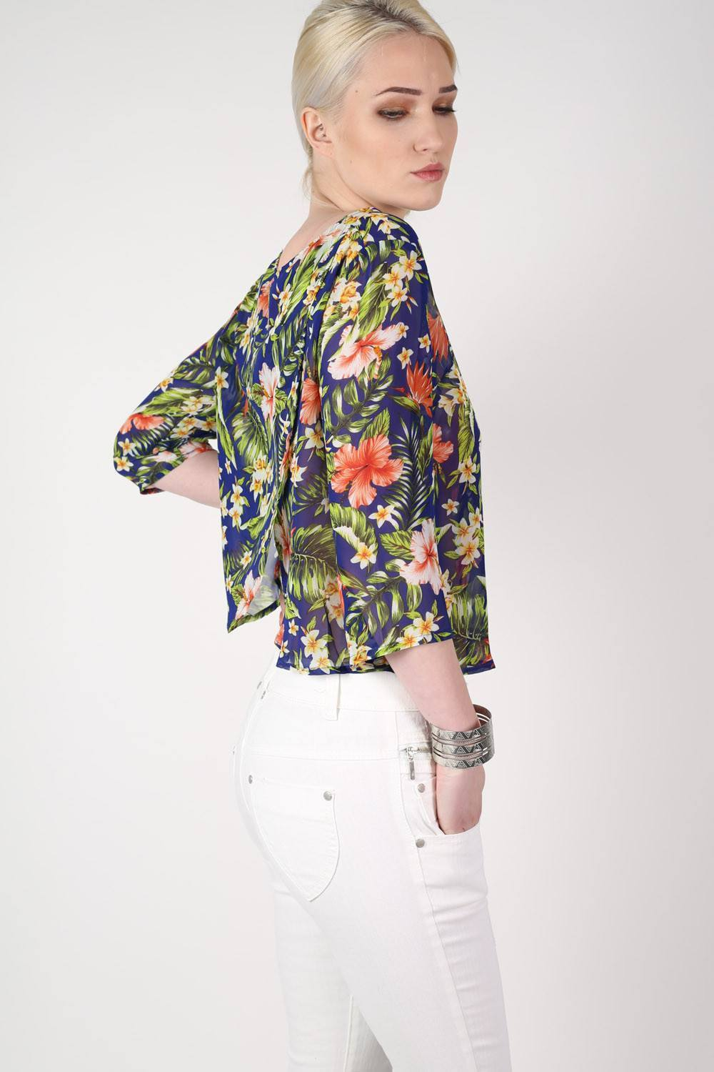Tropical Print Split Back Chiffon Top in Navy Blue 0