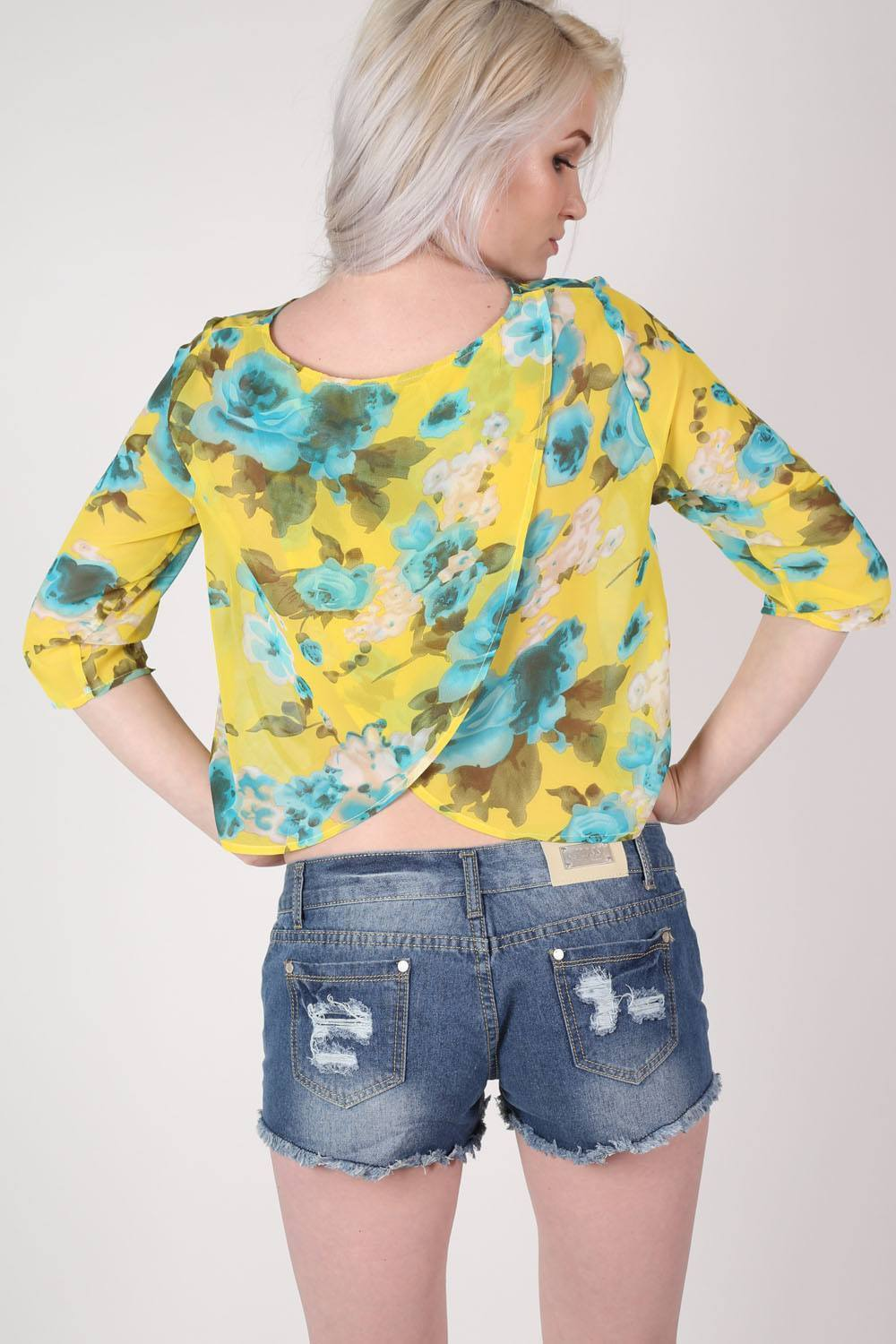 Tropical Print Split Back Chiffon Top in Yellow 0