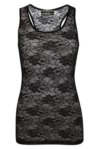 Floral Lace Print Vest Top in Black 2