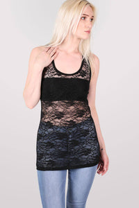 Floral Lace Print Vest Top in Black 1