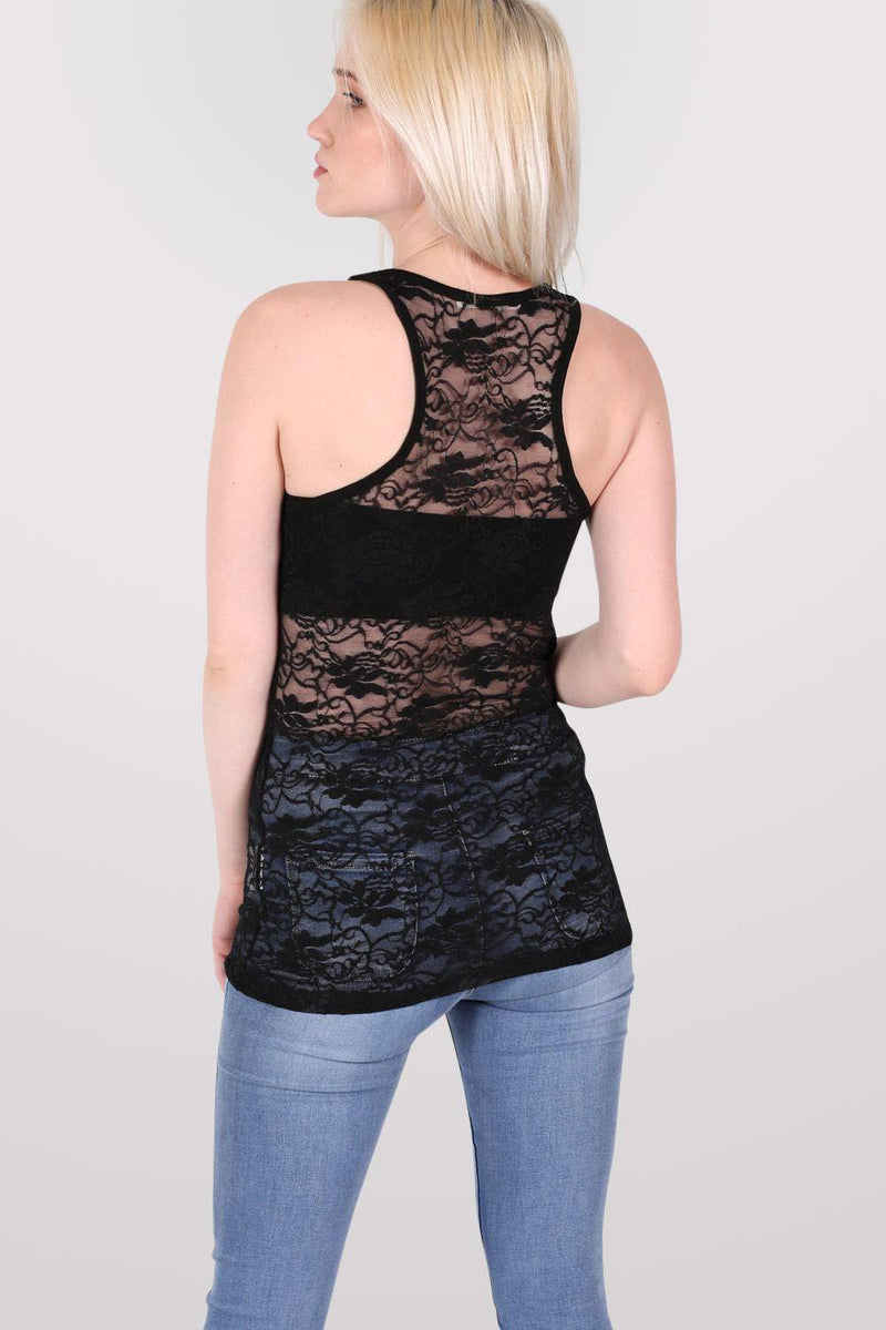 Floral Lace Print Vest Top in Black 3
