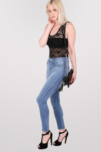Floral Lace Print Vest Top in Black 4