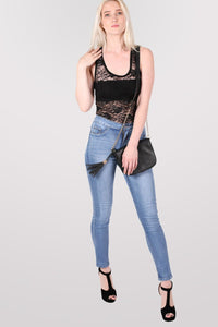 Floral Lace Print Vest Top in Black 5