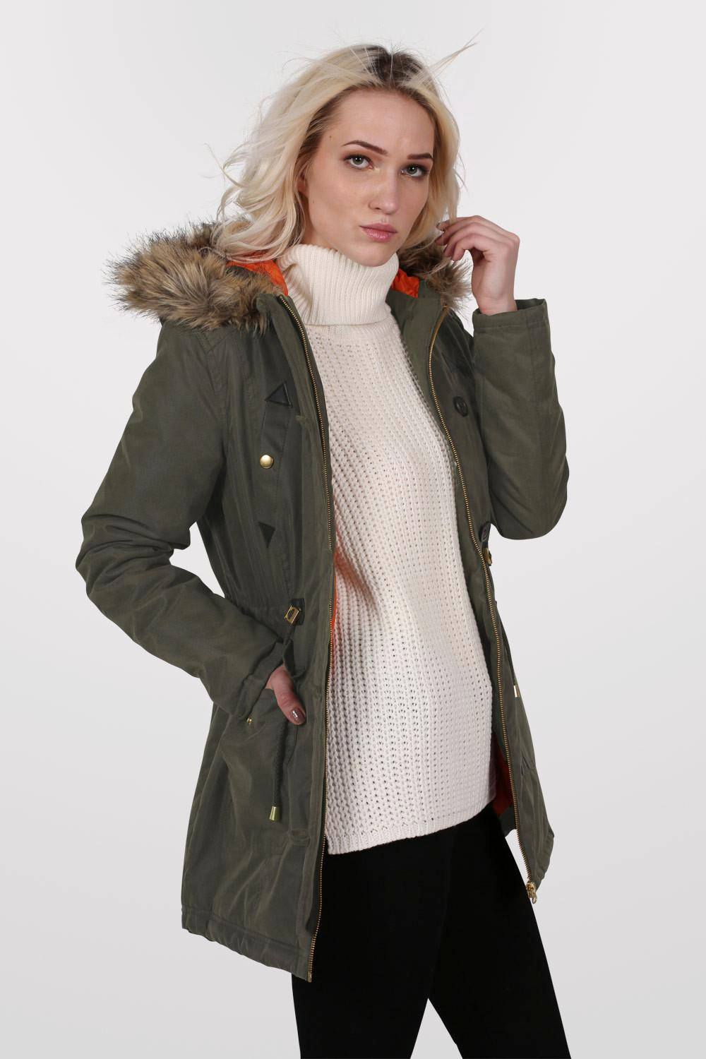 Faux Fur Trim Hooded Parka Coat in Khaki Green 0