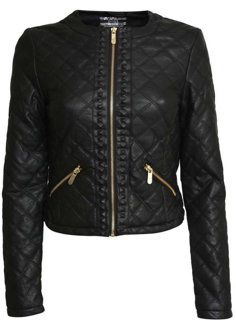 Collarless Quilted Faux Leather Biker Jacket in Black 2