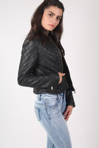 Collarless Quilted Faux Leather Biker Jacket in Black 3