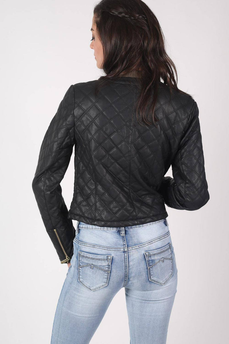 Collarless Quilted Faux Leather Biker Jacket in Black 5