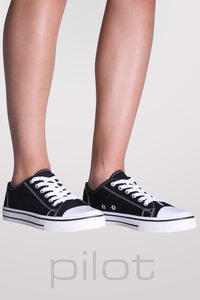 Canvas Lace Up Trainers in Black 0