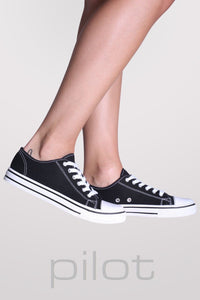 Canvas Lace Up Trainers in Black 1