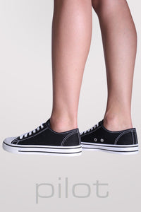 Canvas Lace Up Trainers in Black 4