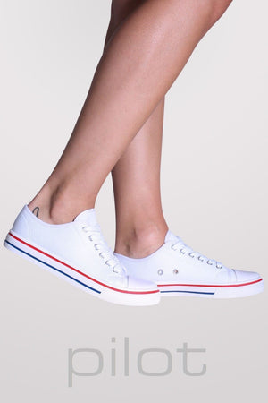 Canvas Lace Up Trainers in White 1