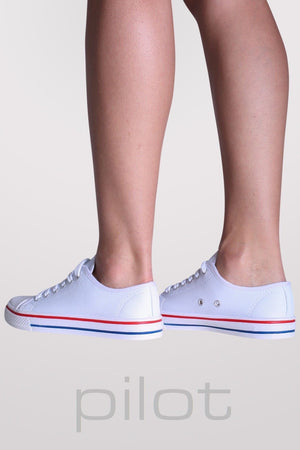 Canvas Lace Up Trainers in White 4