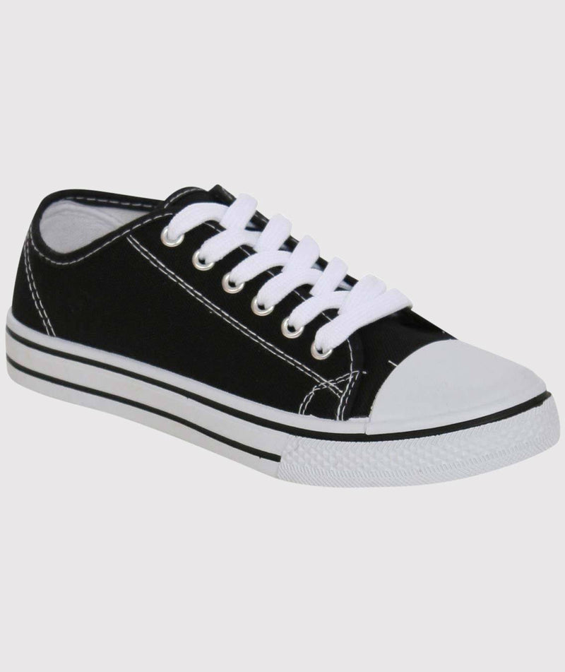 Canvas Lace Up Trainers in Black 2