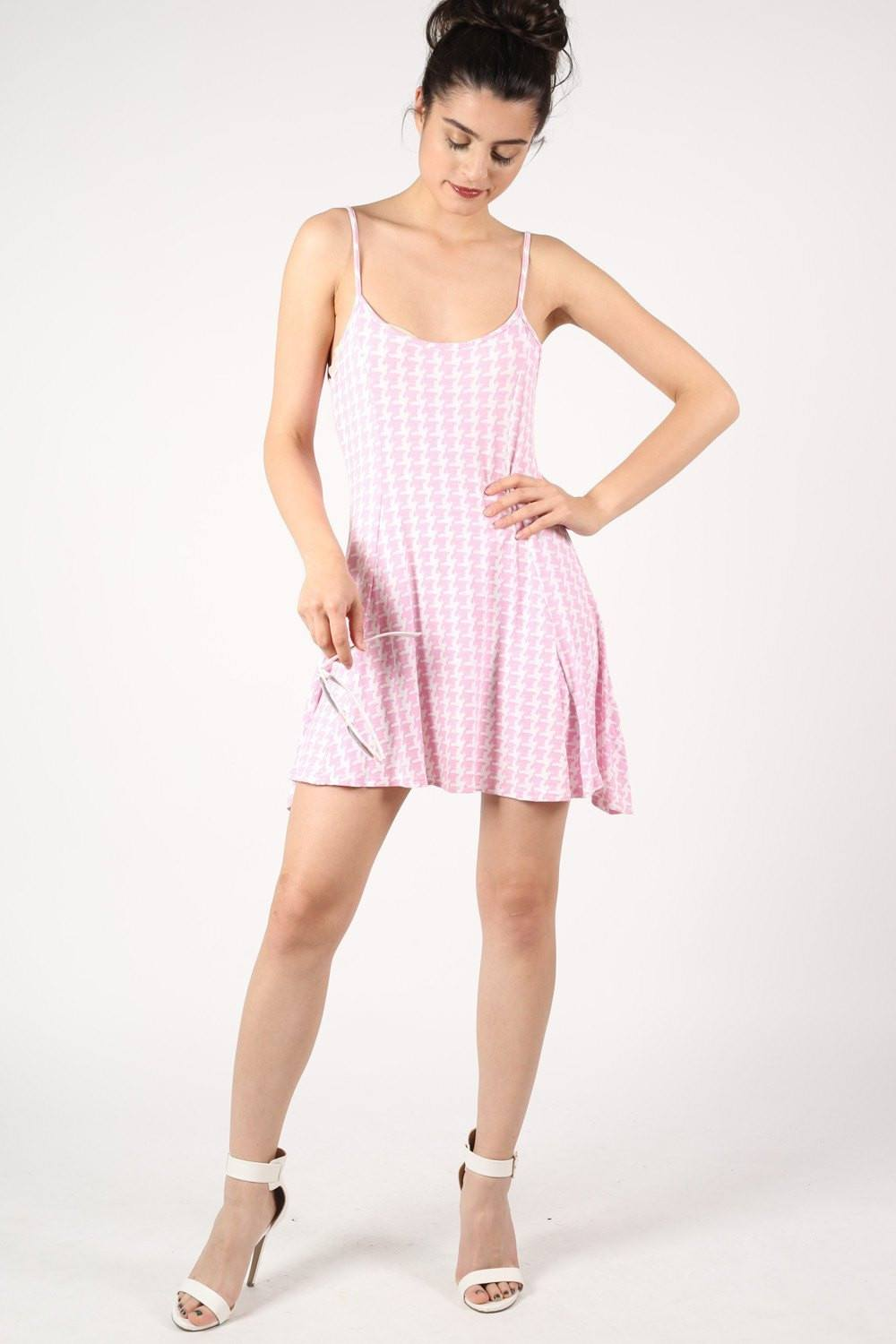 Strappy Dog Tooth Print Swing Dress in Pale Pink 0