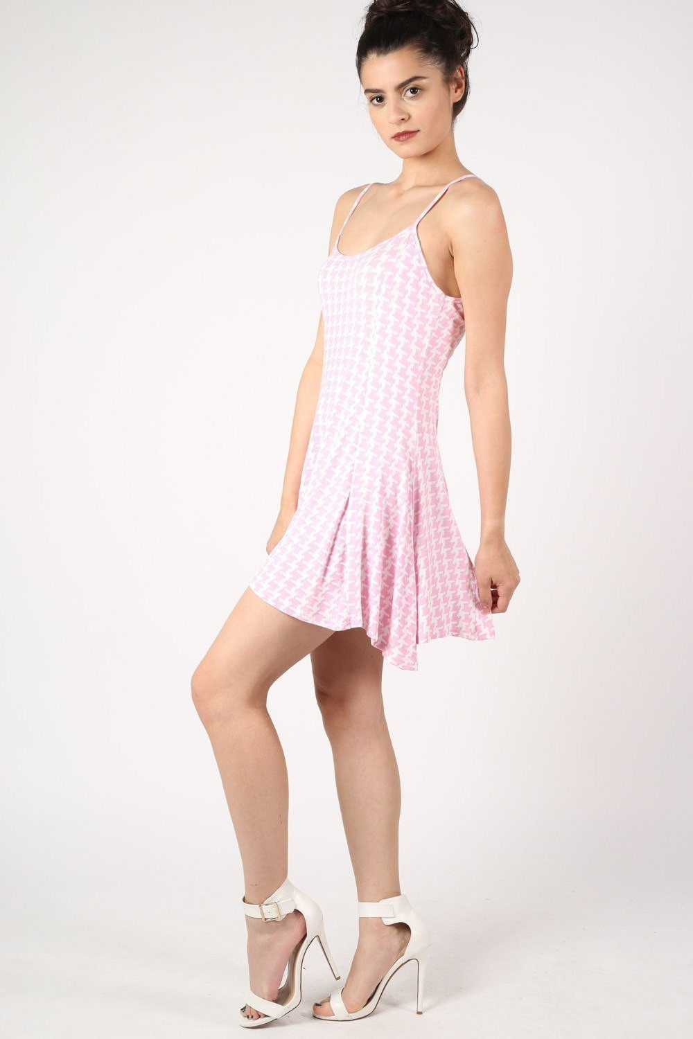 Strappy Dog Tooth Print Swing Dress in Pale Pink 1