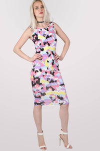 Connie Abstract Print Sleeveless Midi Dress MODEL FRONT