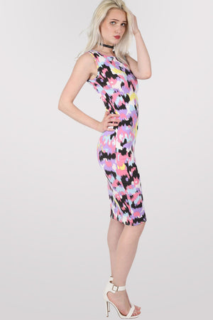 Connie Abstract Print Sleeveless Midi Dress MODEL SIDE 2