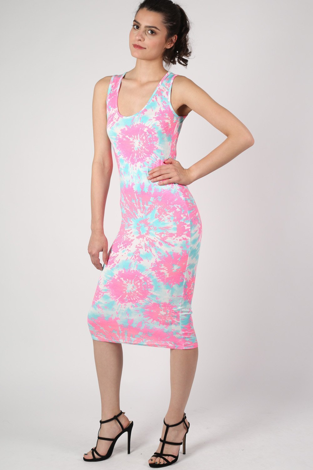 Neon Splash Print Sleeveless Midi Dress in Bright Pink MODEL FRONT