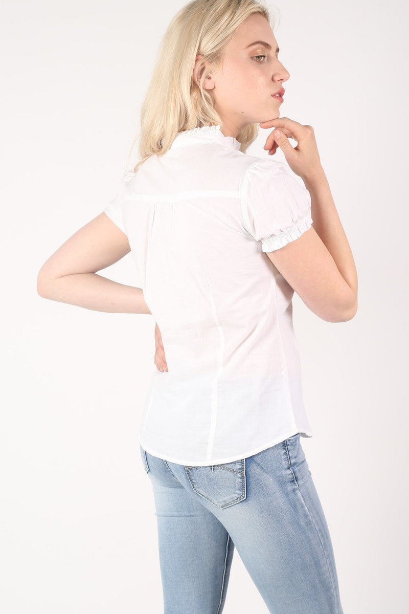 High Neck Cap Sleeve Button Front Blouse in White 4