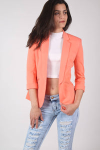 Open Front Blazer in Coral MODEL FRONT