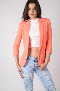 Open Front Blazer in Coral MODEL FRONT 2