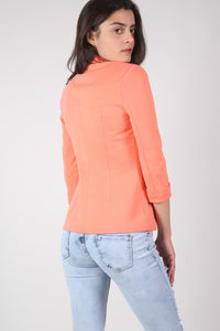 Open Front Blazer in Coral MODEL BACK