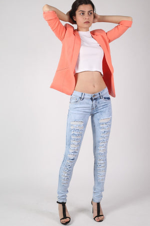 Open Front Blazer in Coral MODEL FRONT 3
