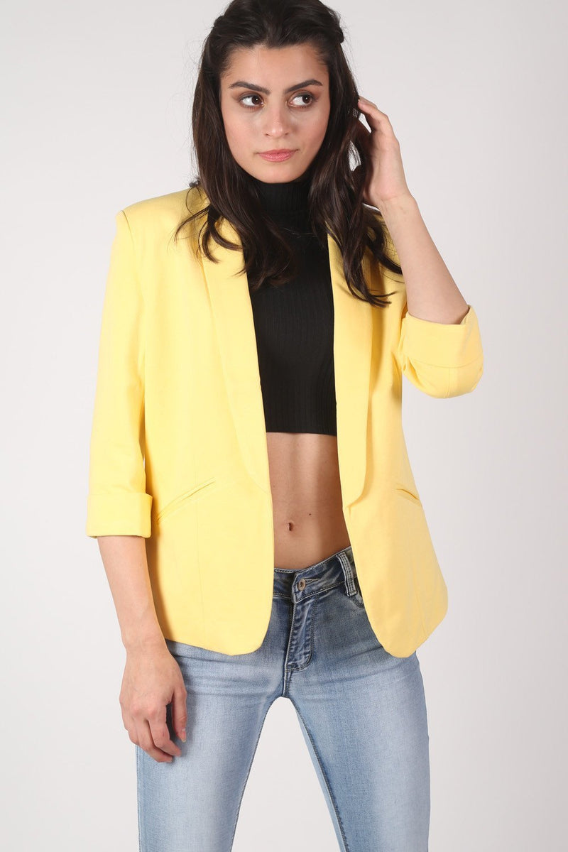 Open Front Blazer in Yellow MODEL FRONT