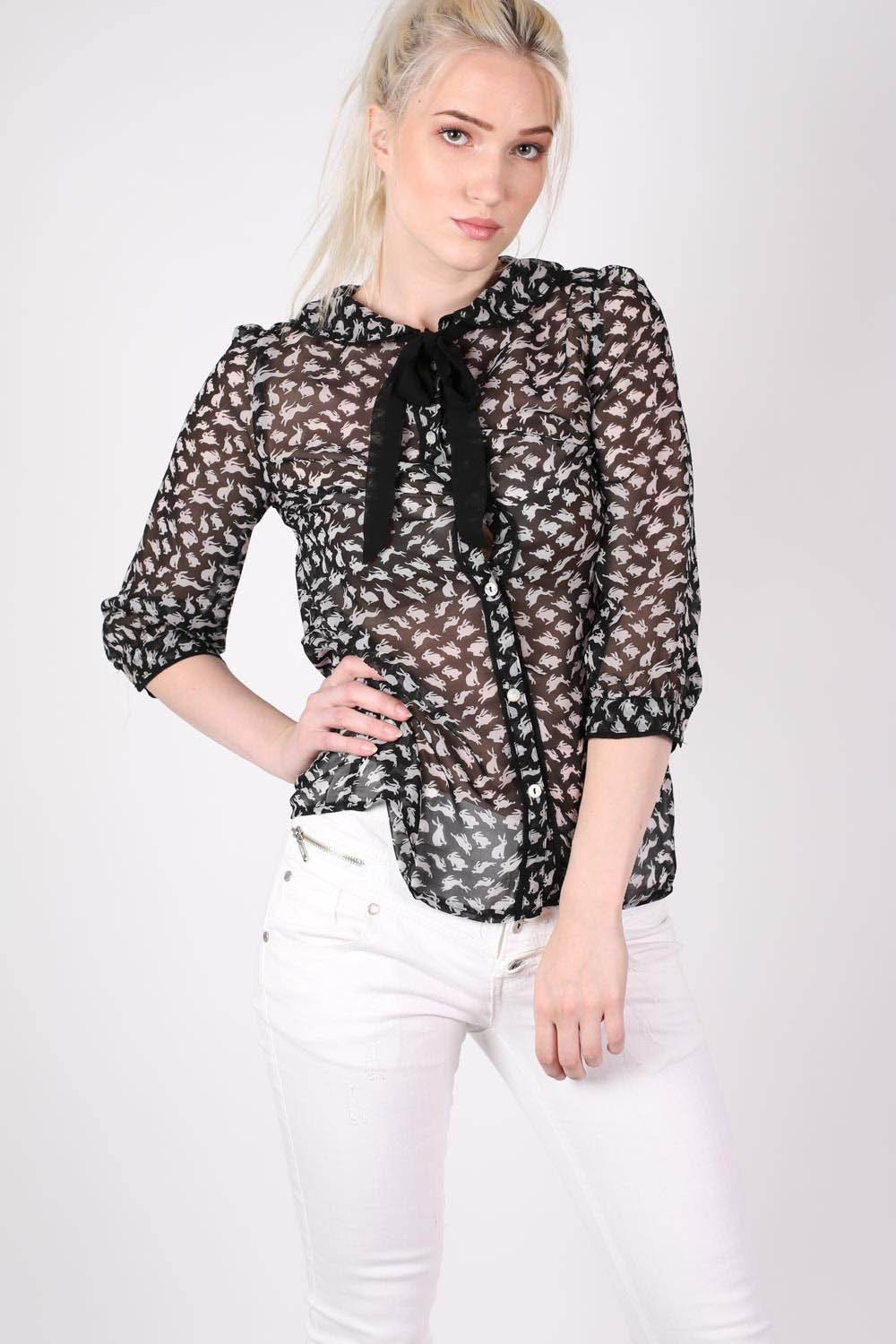 Rabbit Print Tie Bow Neck Chiffon Blouse in Black MODEL FRONT