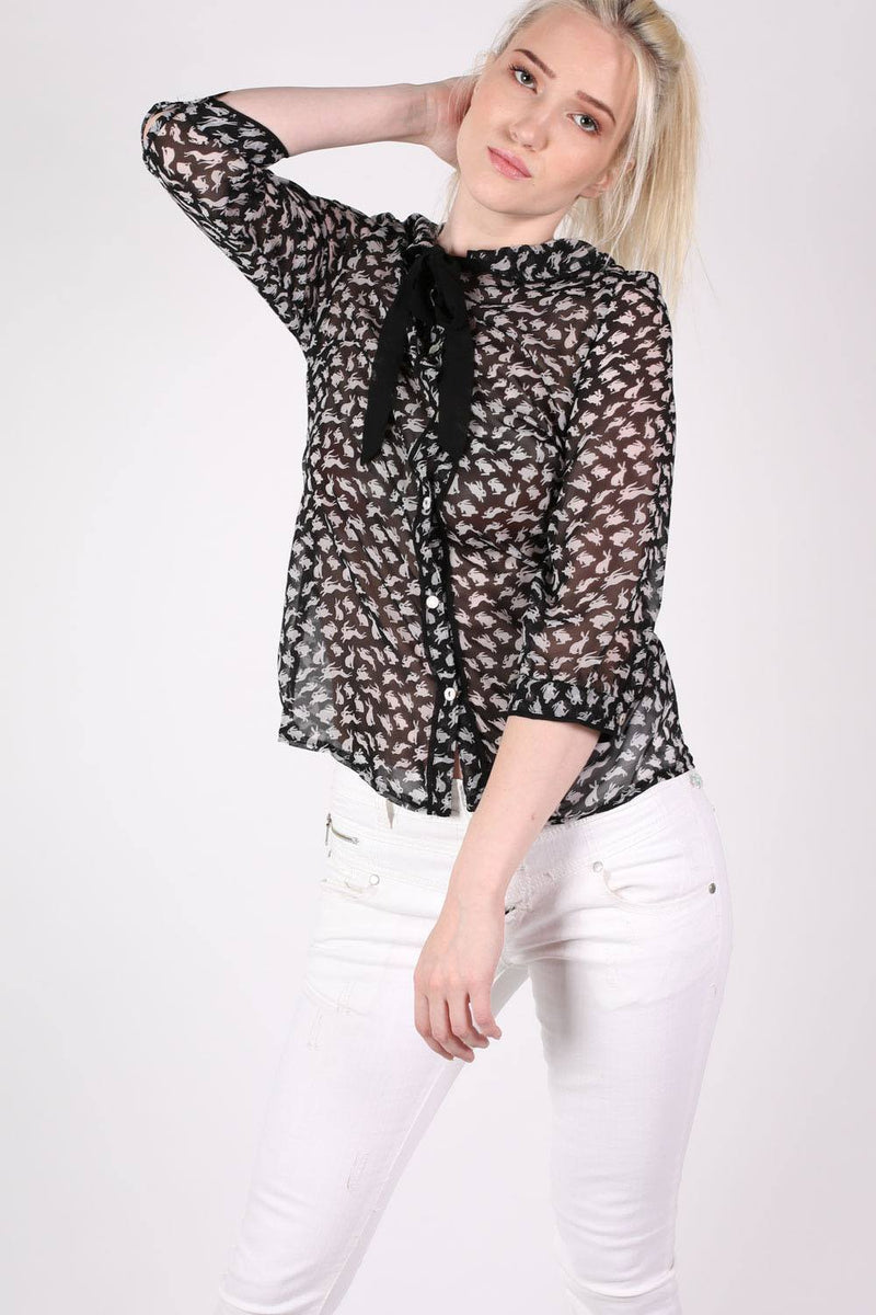 Rabbit Print Tie Bow Neck Chiffon Blouse in Black MODEL FRONT 2
