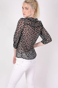 Rabbit Print Tie Bow Neck Chiffon Blouse in Black MODEL BACK