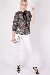 Rabbit Print Tie Bow Neck Chiffon Blouse in Black MODEL FRONT 3