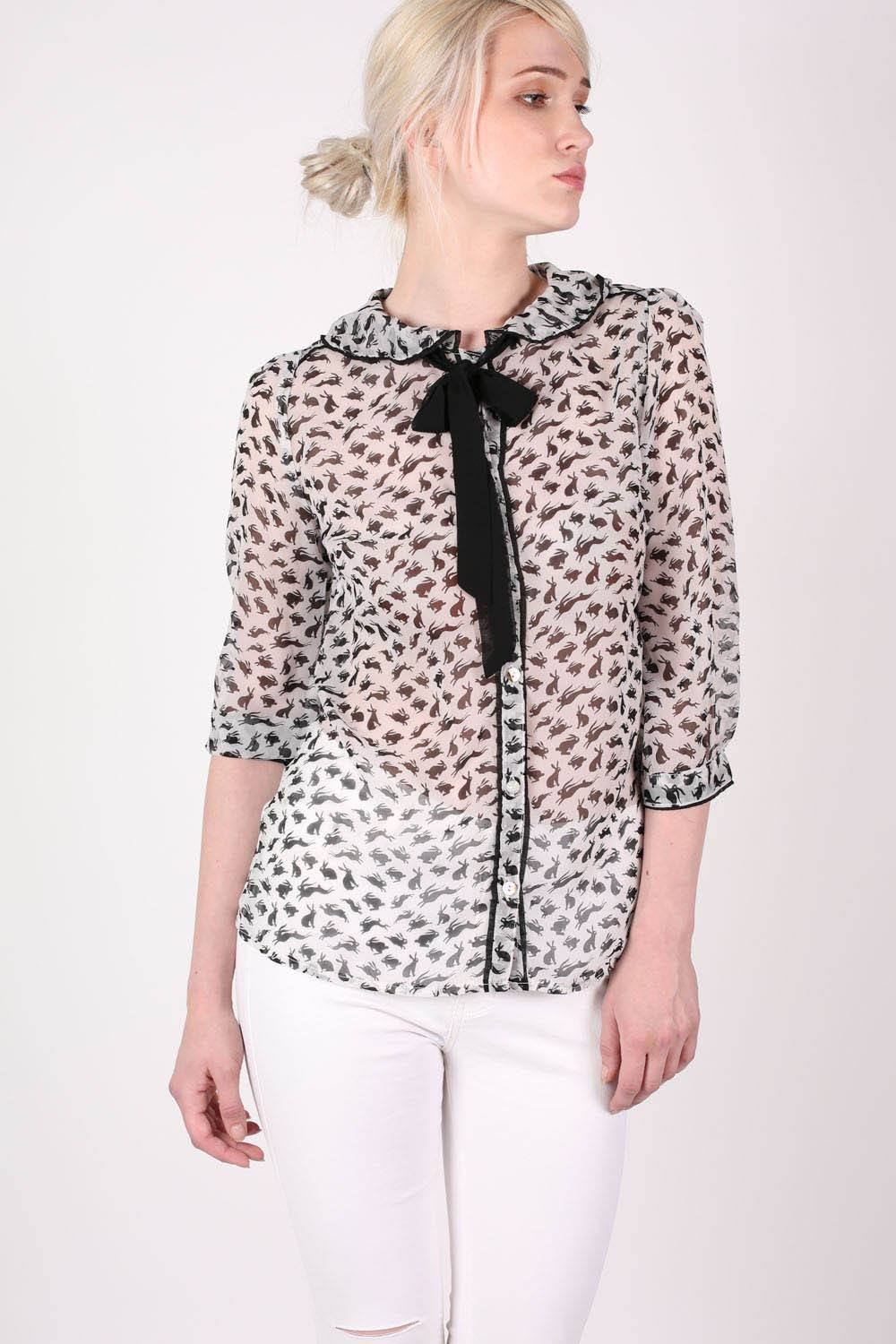 Rabbit Print Tie Bow Neck Chiffon Blouse in White MODEL FRONT
